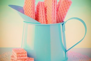 Sugar Cookies in Tin Pitcher