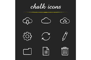 Cloud computing. 9 icons. Vector