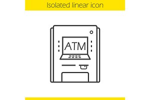 Atm machine linear icon. Vector