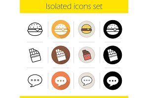 Food. 12 icons set. Vector