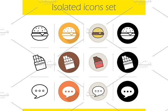 Food. 12 icons set. Vector - Icons