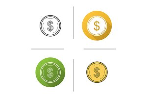 Gold dollar coin. 4 icons. Vector