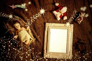 Top view of empty photo frame xmas