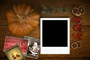 Polaroid template among Christmas