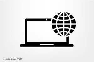 Laptop and Globe
