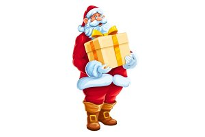 Christmas Santa Claus big gift in hands