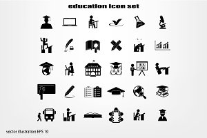 Education set vector icons