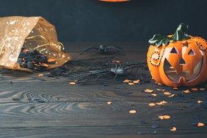 Halloween background on dark wooden table