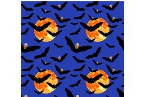 Seamless pattern of flying bat with