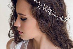 Bride beautiful woman in wedding dress - style