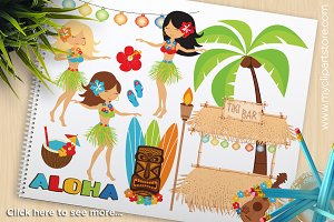 Hula Girls, Luau, Beach Clipart, SVG