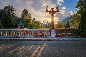 Road over autumn bridge