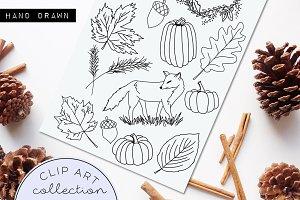 Hand Drawn Doodle Clip Art Fall Fox