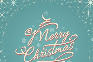 Merry christmas retro lettering