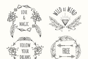 Boho tribal logo set with feathers