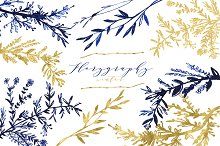 Florygraphy winter. Ink clipart.