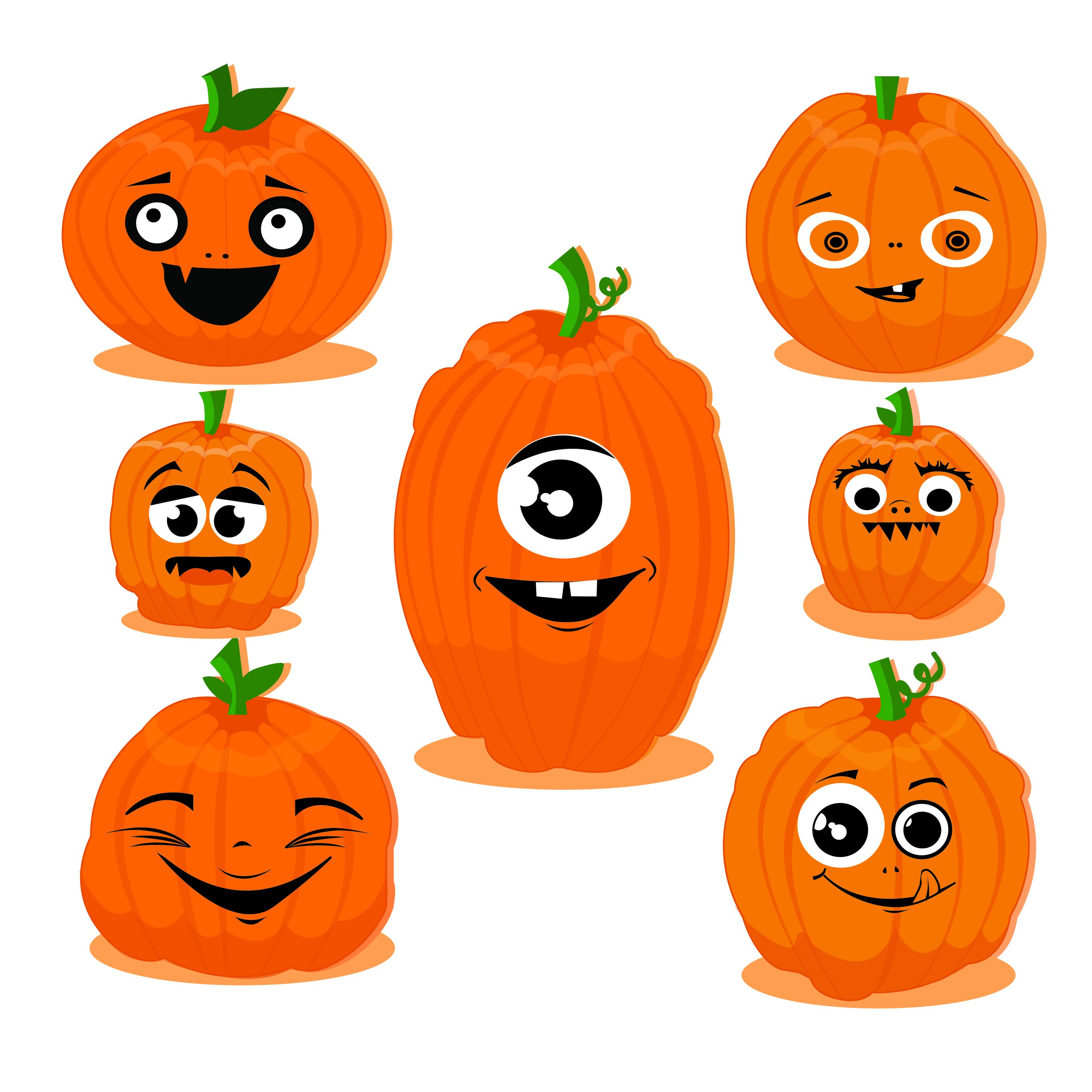 Funny pumpkins clipart | Custom-Designed Illustrations ...