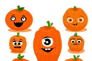 Funny pumpkins clipart