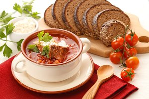Soup red borsch with herbs & spice