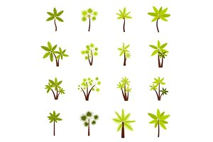 Tree icons set, flat style