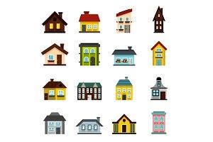 House icons set, flat style
