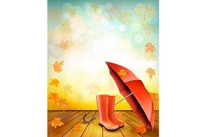 Autumn background with umbrella.