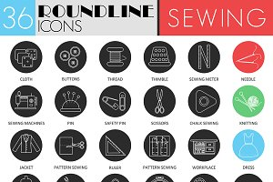 36 Sewing circle color icons.