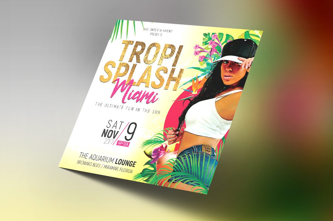 tropical party small flyer template flyer templates creative market