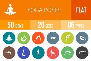 50 Yoga Poses Flat Round Icons