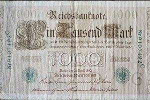 Vintage 10000 mark german banknote