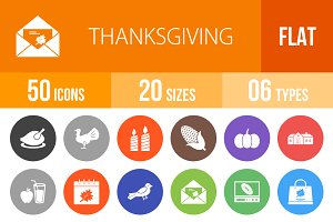 50 Thanksgiving Flat Round Icons