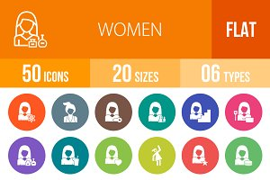 50 Women Flat Round Icons
