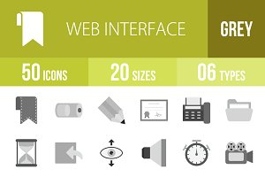 50 Web Interface Greyscale Icons