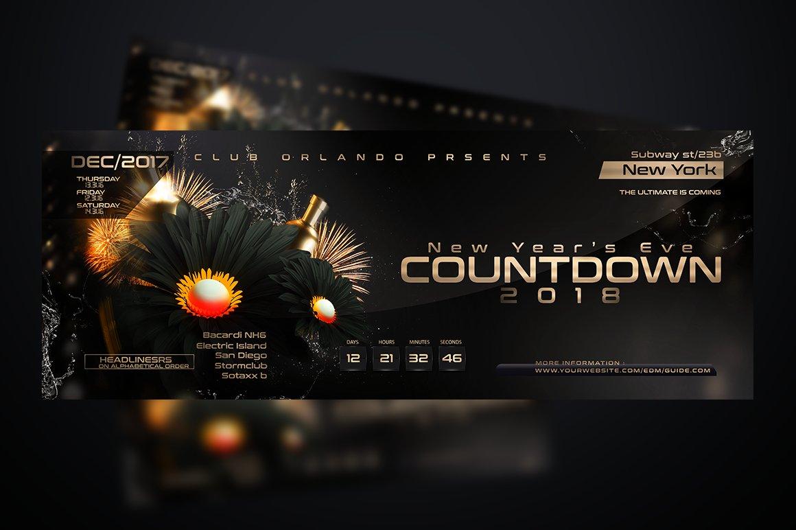 Nye Countdown Flyer Template Flyer Templates Creative Market