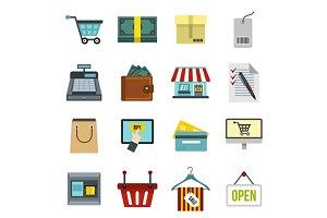 Shopping icons set, flat style