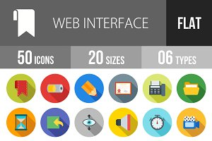 50 Web Interface Flat Shadowed Icons