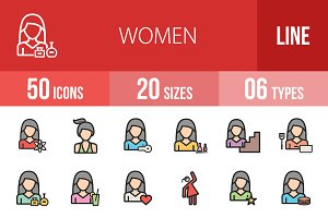 50 Women Line Filled Icons