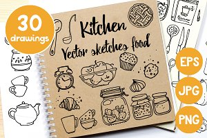 Kitchen. Vector sketches food