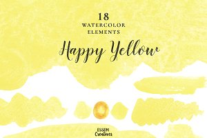 Yellow Watercolor Splash Strokes Kit
