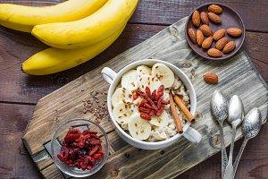 Healthy breakfast, porridge oats
