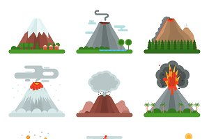 Volcano vector nature blowing up