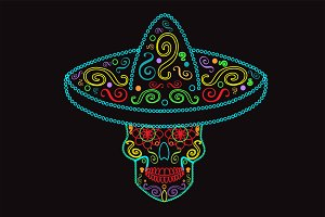 Mexican skull with sombrero neon