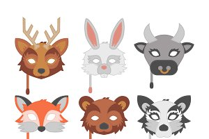 Animals party masks vector