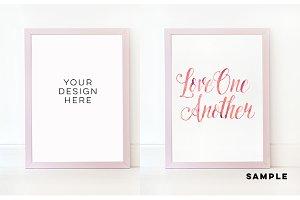 Pink plain mock up frame,