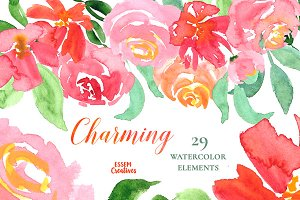 Pink Red Orange Watercolour Floral
