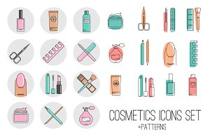 Vector cosmetics icons and patterns