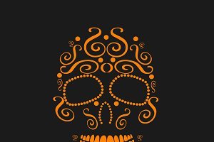 Skull ornament neon orange color