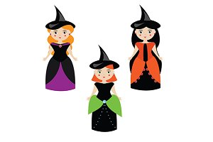 Halloween witches. Cute girls