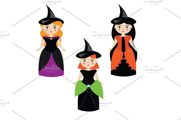 Halloween witches. Cute girls  - Illustrations