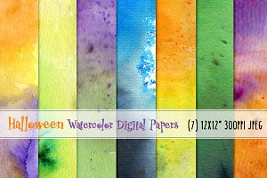 Halloween Watercolor Digital Papers